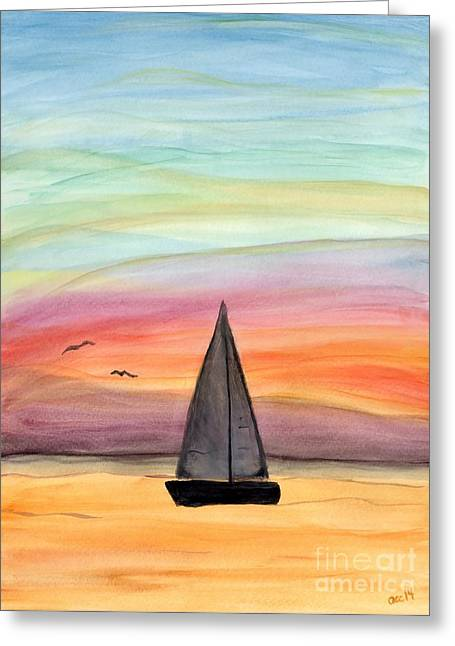 Recently Sold -  - Blue Sailboat Greeting Cards - Sailing On A Summer Night Greeting Card by Anne Clark