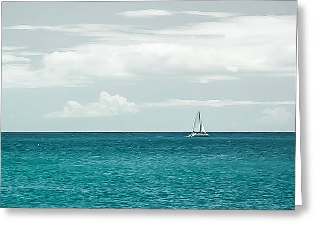 Oahu Greeting Cards - Sailing on a Turquoise Sea Greeting Card by Jason Bartimus