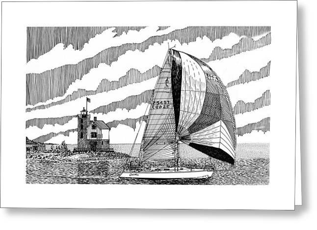 Holland Harbor Lighthouse And Spinaker Flying Sailboat Greeting Card by Jack Pumphrey