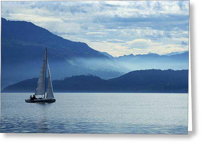 Sailing on lake Zug Greeting Card by Ron Sumners