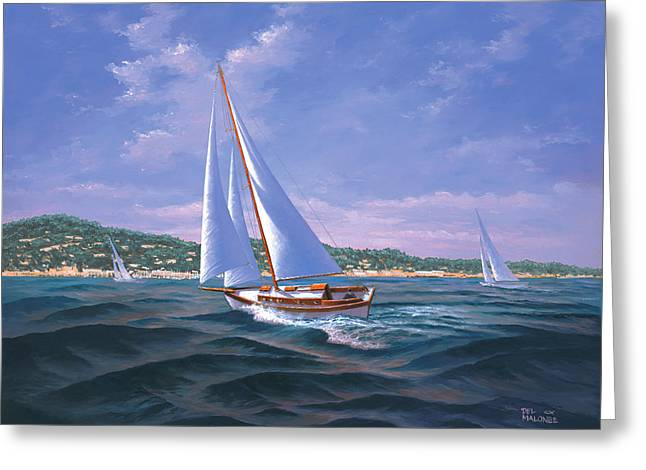Monterey Greeting Cards - Sailing on Monterey Bay Greeting Card by Del Malonee