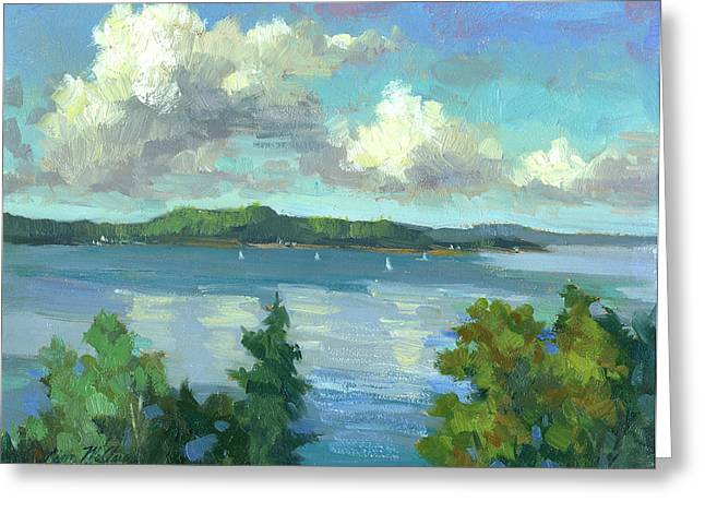 Sailboat Ocean Greeting Cards - Sailing on Puget Sound Greeting Card by Diane McClary