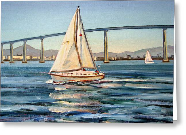 Recently Sold -  - Bay Bridge Greeting Cards - Sailing on San Diego Bay Greeting Card by Robert Gerdes
