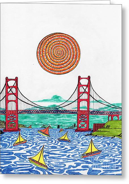 San Francisco Bay Drawings Greeting Cards - Sailing on San Francisco bay Greeting Card by Michael Friend