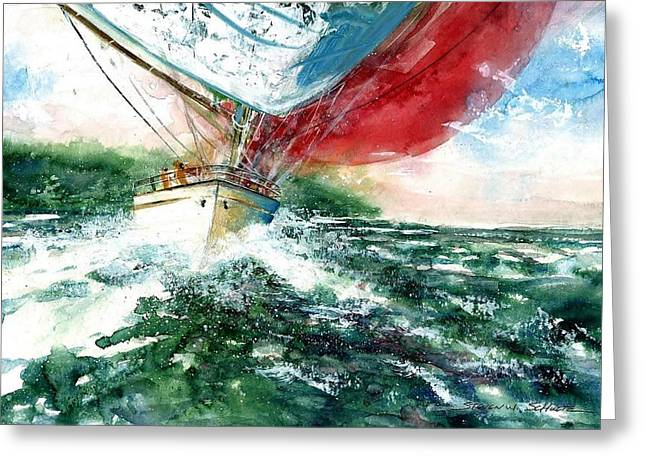 Award Winning Art Greeting Cards - Sailing On The Breeze Greeting Card by Steven Schultz