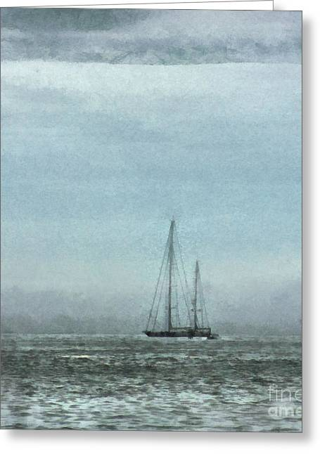 New England Marina Park Greeting Cards - Sailing on the High Seas Greeting Card by Helene Guertin