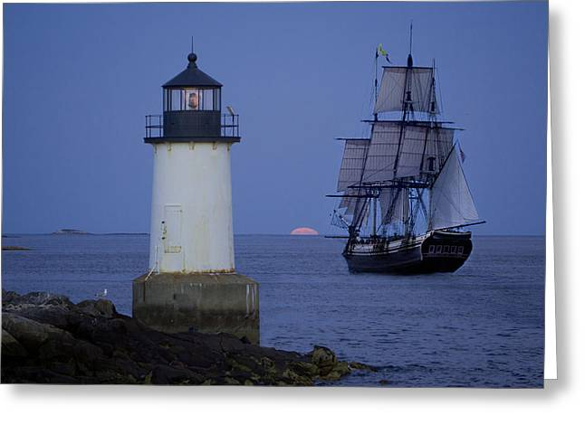 Sailing out for the red moon Greeting Card by Jeff Folger