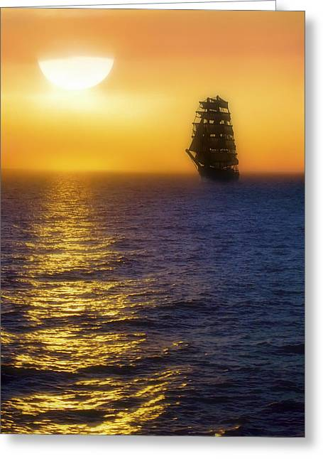 Pirate Ships Greeting Cards - Sailing out of the Fog at Sunrise Greeting Card by Jason Politte