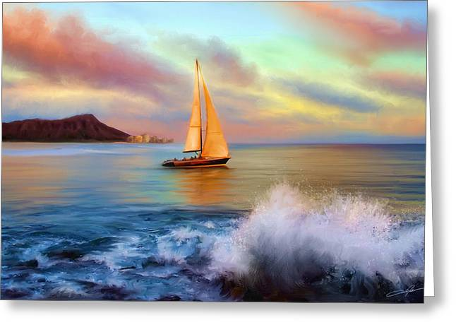"""sailing Ship"" Greeting Cards - Sailing Past Waikiki Greeting Card by Dale Jackson"