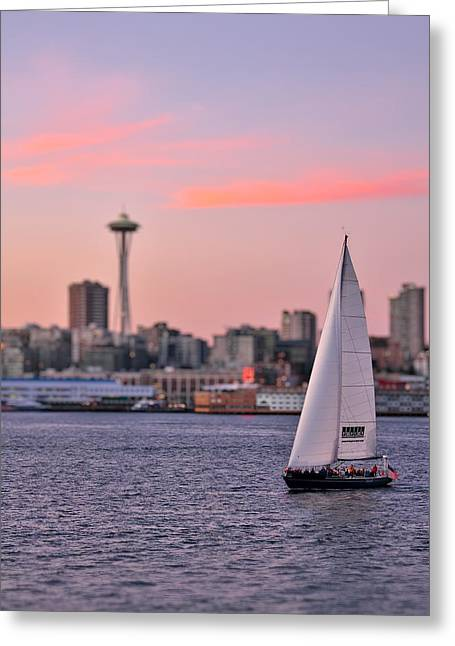 Tilted Greeting Cards - Sailing Puget Sound Greeting Card by Adam Romanowicz