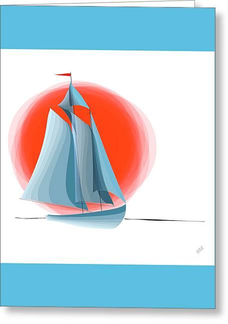 Sailing Red Sun Greeting Card by Ben and Raisa Gertsberg