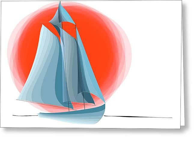 Water Vessels Digital Art Greeting Cards - Sailing Red Sun Greeting Card by Ben and Raisa Gertsberg