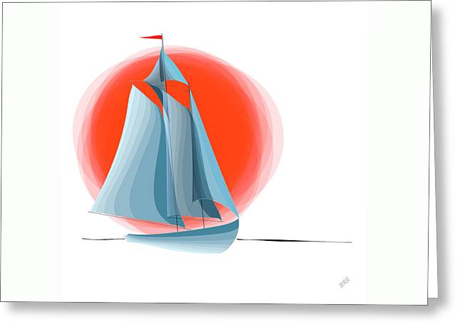 Ben And Raisa Digital Art Greeting Cards - Sailing Red Sun Greeting Card by Ben and Raisa Gertsberg