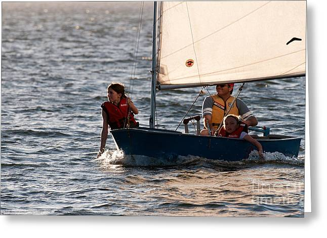 Two Young Girls Greeting Cards - Sailing Greeting Card by Rick Piper Photography