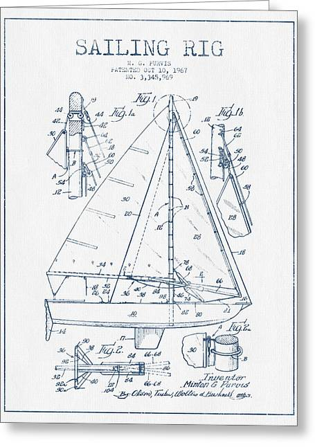 Watercolor! Art Greeting Cards - Sailing Rig Patent Drawing From 1967  -  Blue Ink Greeting Card by Aged Pixel