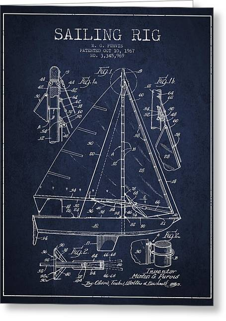 Boat Digital Art Greeting Cards - Sailing Rig Patent Drawing From 1967 Greeting Card by Aged Pixel