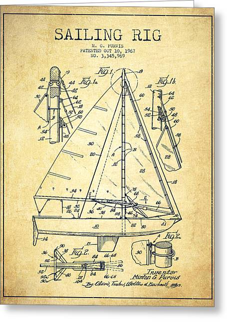 Sailboat Art Greeting Cards - Sailing Rig Patent Drawing From 1967 - Vintage Greeting Card by Aged Pixel