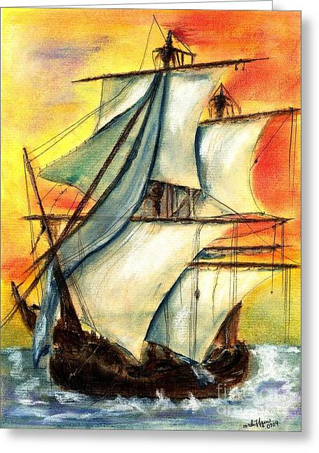 Ocean Sailing Pastels Greeting Cards - Sailing Rough Greeting Card by Micki Davis
