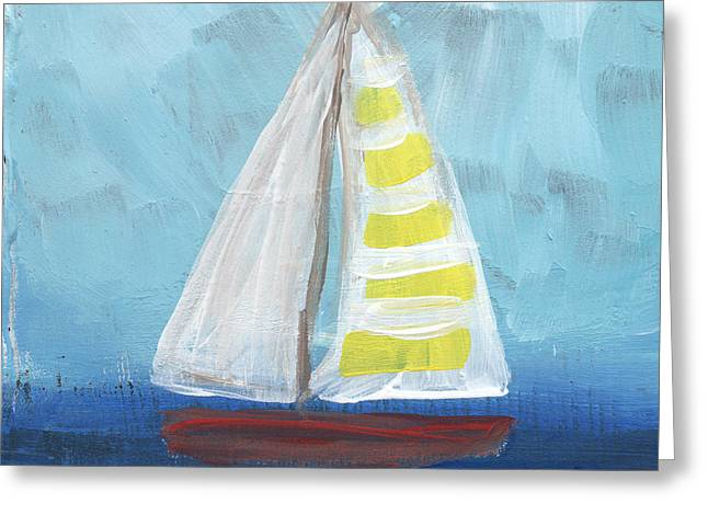 Yellow Sailboats Greeting Cards - Sailing- Sailboat Painting Greeting Card by Linda Woods