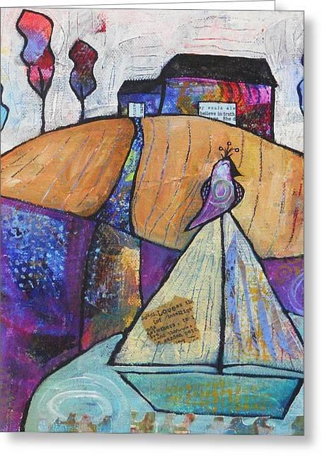 Yellow Sailboats Mixed Media Greeting Cards - Sailing Greeting Card by Shannon Crandall