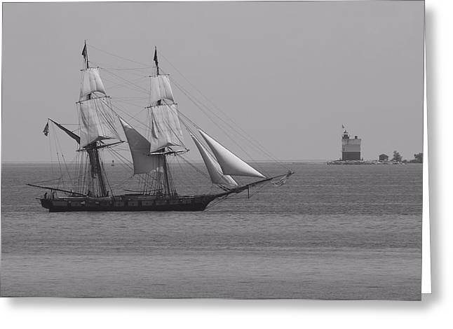 Mackinaw City Greeting Cards - Sailing Ship And Lighthouse Greeting Card by Dan Sproul