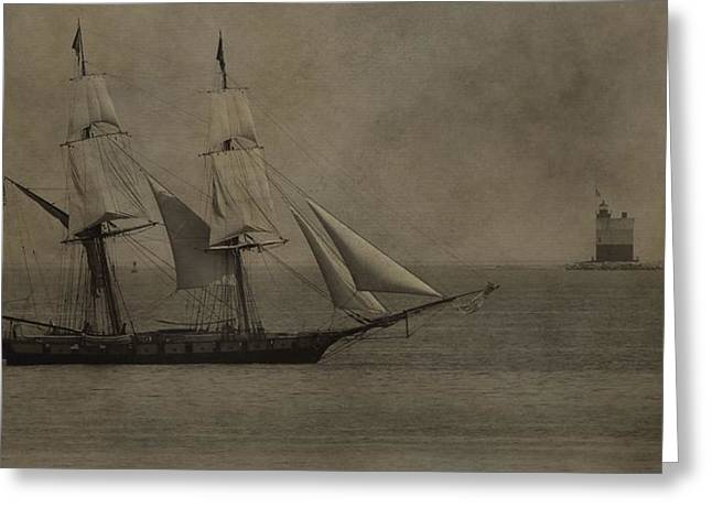 Mackinaw City Greeting Cards - Sailing Ship And Round Island Light Greeting Card by Dan Sproul