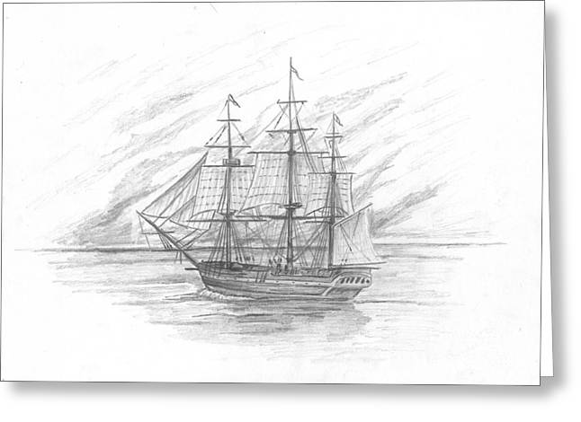 Enterprise Drawings Greeting Cards - Sailing Ship Enterprise Greeting Card by Michael Penny