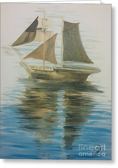Wooden Ship Paintings Greeting Cards - Sailing Ship Greeting Card by Lady I F Abbie Shores