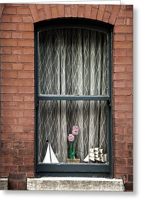 Sailing Ship Greeting Cards - Sailing ships and plant on the window with net courtain Greeting Card by RicardMN Photography