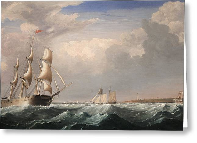 Blue Sailboat Greeting Cards - Sailing Ships off the New England Coast Greeting Card by Fitz Hugh Lane