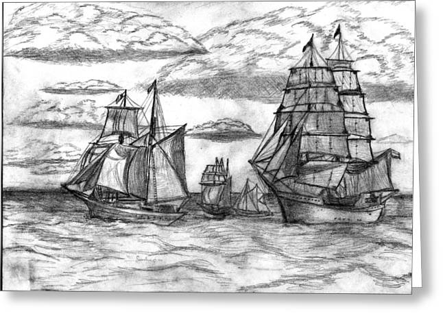 Water Vessels Drawings Greeting Cards - Sailing Ships Greeting Card by Rodger Larson