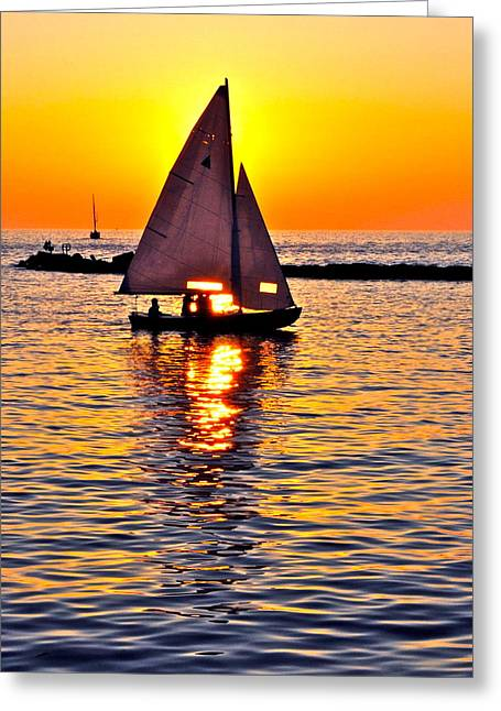 Sailboat Photos Greeting Cards - Sailing Silhouette Greeting Card by Frozen in Time Fine Art Photography