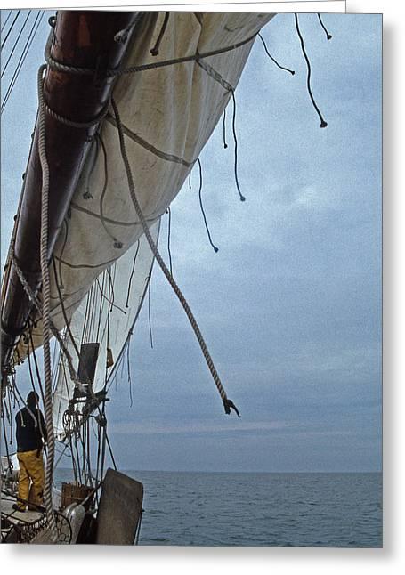 Sailboat Photos Greeting Cards - Sailing Skipjack Greeting Card by Skip Willits
