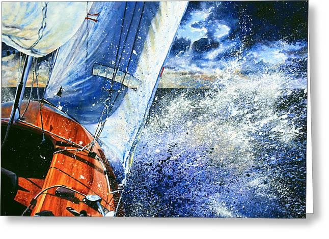 Sailboat Art Greeting Cards - Sailing Souls Greeting Card by Hanne Lore Koehler