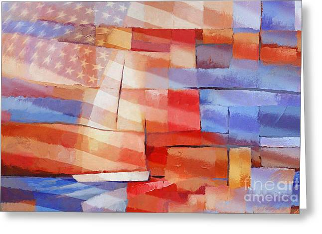 Sailboat Images Paintings Greeting Cards - Sailing Stripes Greeting Card by Lutz Baar
