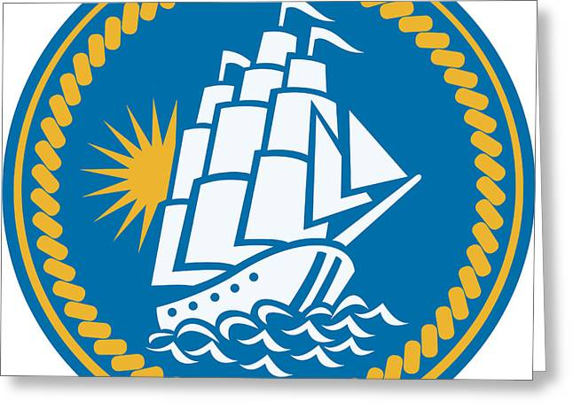 Tall Ship Greeting Cards - Sailing Tall Ship Galleon Retro Greeting Card by Aloysius Patrimonio