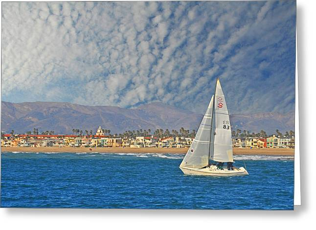 Ventura California Greeting Cards - Sailing the Blues Away - Fine Art by Lynn Bauer Greeting Card by Lynn Bauer