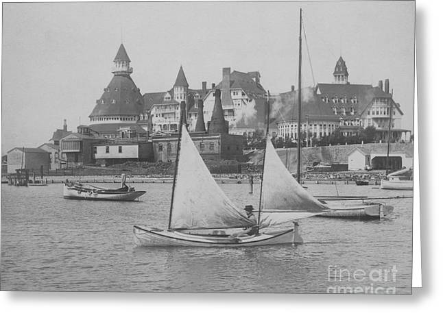Restore The Shore Greeting Cards - Sailing the Del BW Greeting Card by Coronado Art Gallery