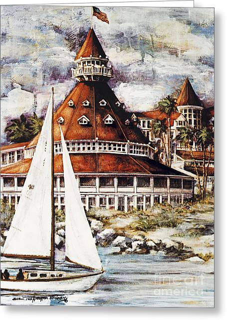 Recently Sold -  - Famous Bridge Greeting Cards - Sailing The Del Greeting Card by Sue Tushingham McNary