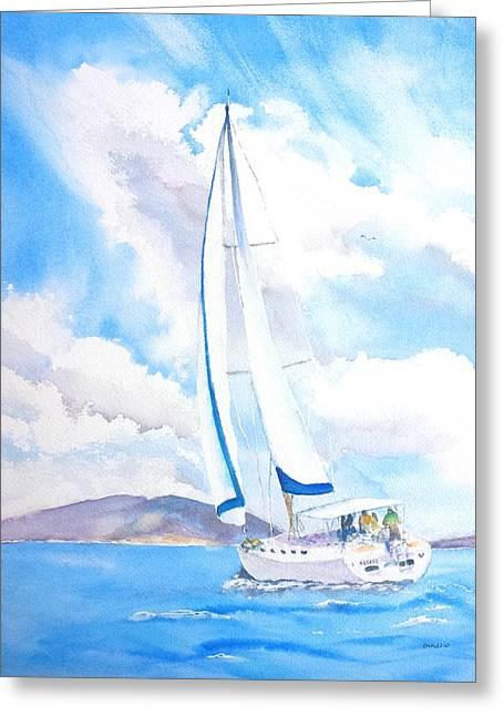 Blue Sailboats Greeting Cards - Sailing the Islands Greeting Card by Carlin Blahnik