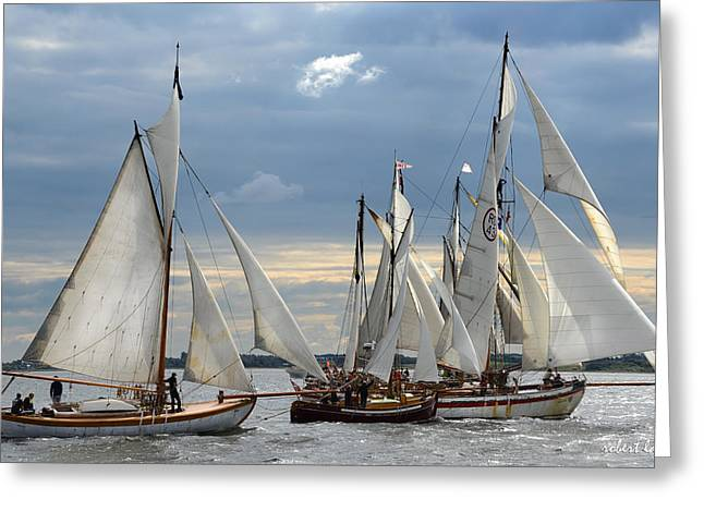 Wooden Ship Photographs Greeting Cards - Sailing the Limfjord Greeting Card by Robert Lacy