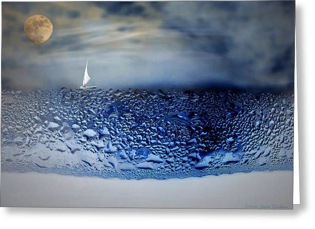 Sea Moon Full Moon Greeting Cards - Sailing The Liquid Blue Greeting Card by Joyce Dickens