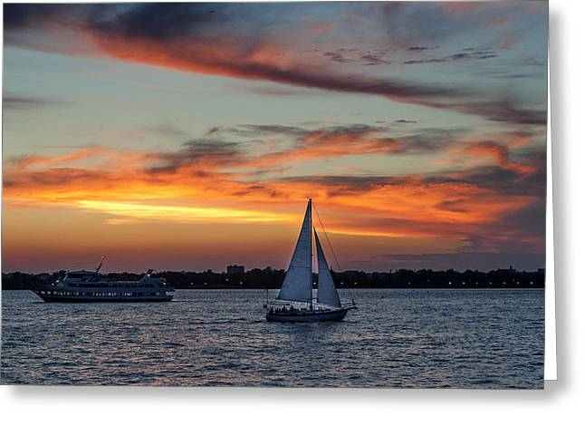 Times Square Pastels Greeting Cards - Sailing the river Greeting Card by Roni Chastain