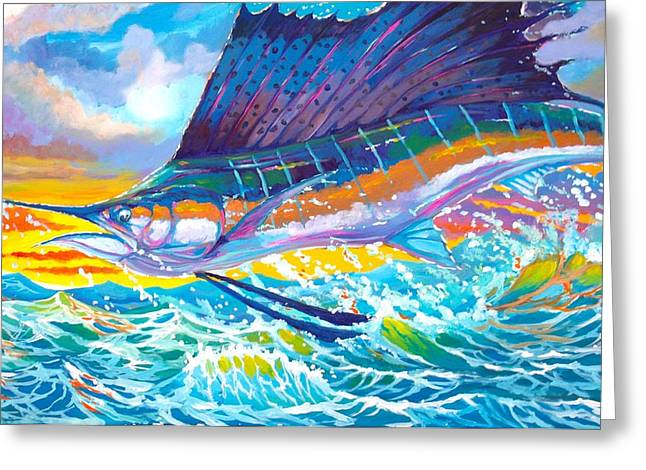 Awesome Greeting Cards - Sailing the sunset  Greeting Card by Yusniel Santos