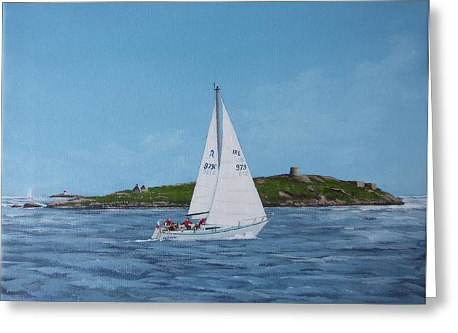 Ruffian Greeting Cards - Sailing Through Dalkey Sound Greeting Card by Tony Gunning
