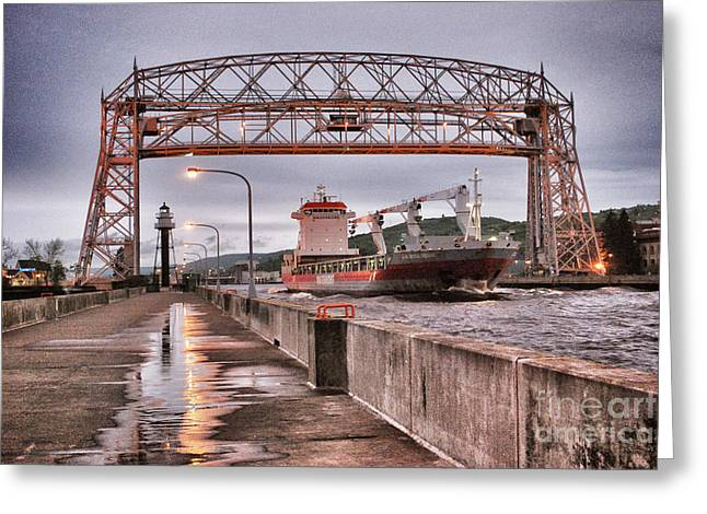 Canal Park Greeting Cards - Sailing Through The Duluth Aerial Lift Bridge Greeting Card by Shutter Happens Photography