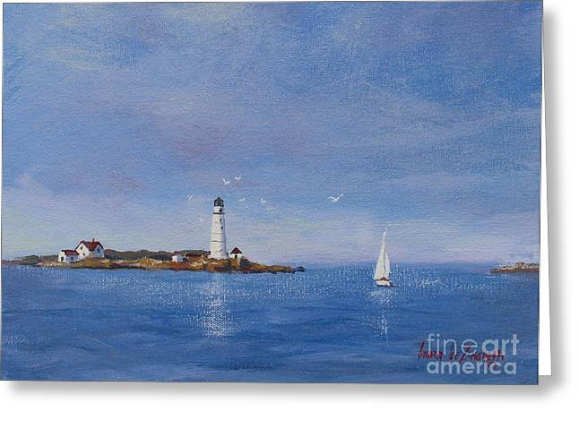 Hull Ma Greeting Cards - Sailing to Boston Light Greeting Card by Laura Lee Zanghetti