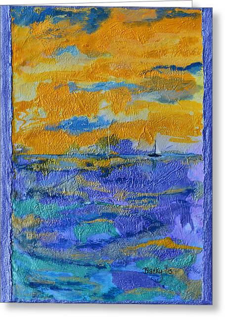 Tropics Mixed Media Greeting Cards - Sailing To St. Thomas Greeting Card by Donna Blackhall