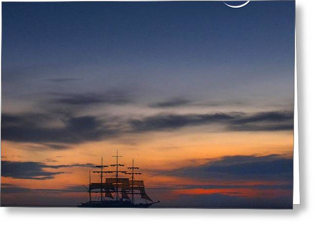 Schooner Digital Art Greeting Cards - Sailing to the Moon 2 Greeting Card by Mike McGlothlen
