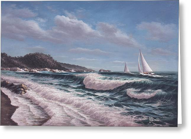 Ocean Prints Greeting Cards - Sailing Toward Point Lobos Greeting Card by Del Malonee